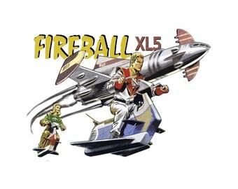 T-SHIRT: Fireball XL5 / Steve and Venus - Classic T-Shirt & Ladies Fitted Tee - (LazyCarrot)