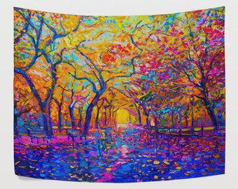 Colorful Tree of Life Forest Street Night Tapestry Wall Hanging Nature Oil Painting Wall Decor Art for Living Room Bedroom Dorm