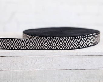 Ribbon trims ethnic pattern band black white hippie boho width 2, 4 cm