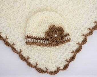 Crochet Baby Blanket / Afghan and Hat Toffee Ivory Granny Square Baby Shower Gift Baby Boy Baby Girl New Baby Gift
