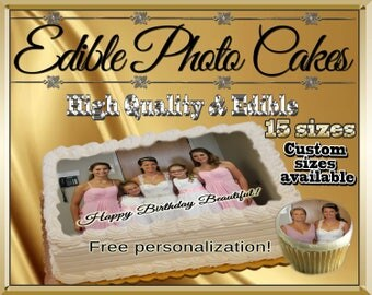 Custom edible cake pictures! Cupcakes cookies toppers photographs pictures sugar wafer frosting paper decals logos face graduation images