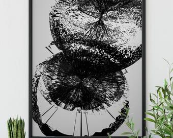 """Original Wall Art Design """"Spectral Flower Duo"""" - Contemporary, Modern, Abstract Digital Design"""