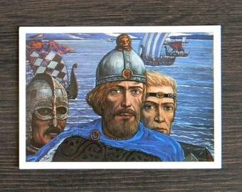 "Vintage Soviet Postcard ..Russian Vintage Art Postcard..Fine Art Print..Ilya Glazunov ""Grandsons of Gostomysl - Rurik, Truvor, Sineus."" 1986"