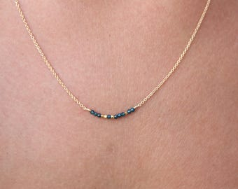 Gold Necklace with Apatite - Bar Necklace - Genuine Blue Apatite -Delicate Necklace-Layered Necklace -Chain Necklace -Gemstone Jewelry