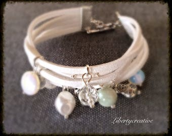 White suede Ribbon, pearls and Crystal beads bracelet