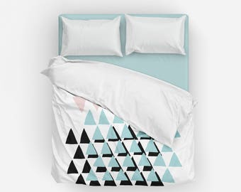 Geometric Duvet Cover, Queen Duvet Cover, King Duvet Cover, Full Duvet Cover, Twin XL Duvet Cover, Twin Duvet Cover, Bedding, Bedspread