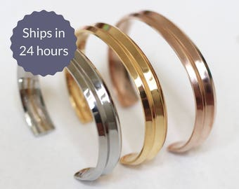 FREE SHIPPING Grooved Stainless Steel Cuff Bangle Bracelets in Silver, Gold, and Rose Gold Set