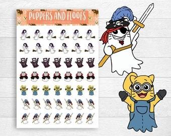 Ghost Kitty Emoji Halloween Costume Stickers