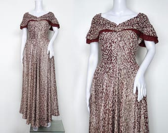 1940s Burgundy and Silver Lamé Dress
