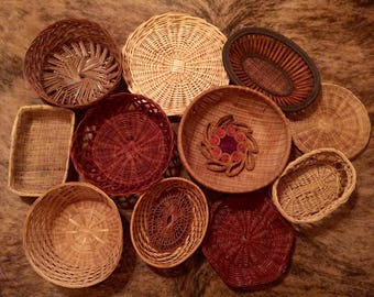 Vintage Basket Wall Set Boho Style (12 Vintage Baskets for Basket Wall)