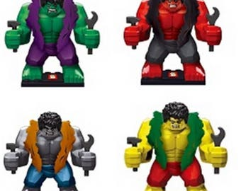 Lot of 4 Lego figures the incredible Hulk customized
