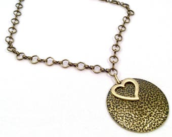 Antiqued Gold Heart Pendant