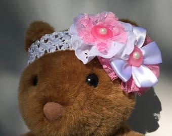 Handmade White and Pink Flower Headband