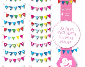 Bunting Banner Flag Clipart, Bunting clipart, Graphics, Polka Dots, Stripes, Chevron, Pennant Banner Clip Art, DP4059