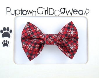 Dog Bow Christmas Bow Tie Holiday Bow Tie Dog Bow Tie Doggie Bow Tie Dog Collar Bow Tie Pet Bow Tie