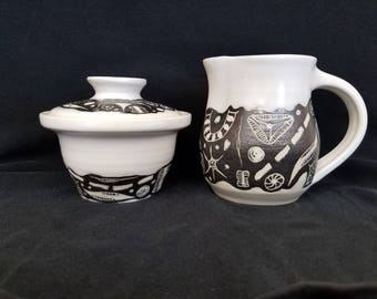 Hand Made Pottery Creamer and Sugar Bowl #3