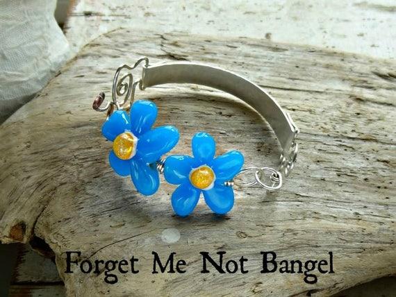 Memorial Blown Glass Flower Bangle Bracelet in Sterling Silver