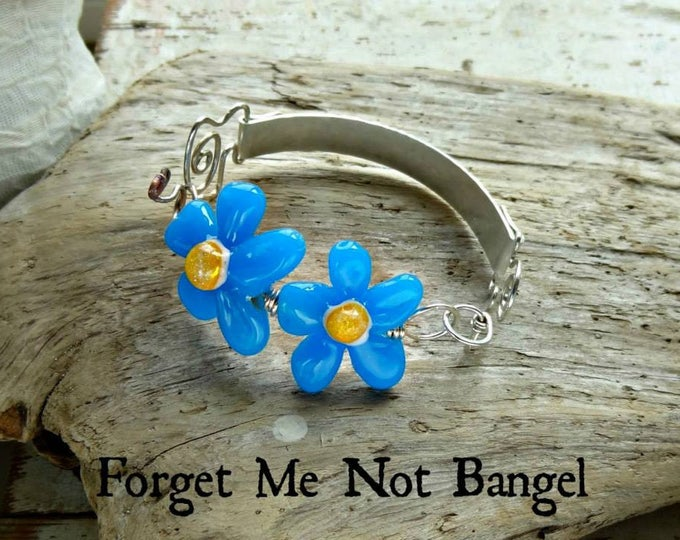 Memorial Blown Glass Flower Bangle Bracelet in Sterling Silver