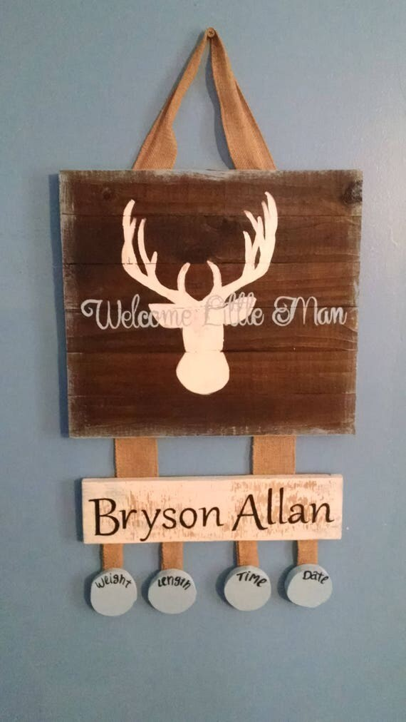 Deer hospital welcome baby door hanger, wood, nursery, keepsake, shower gift, Fall, rustic