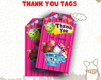 INSTANT DOWNLOAD - Shopkins Thank You Tags, Shopkins Party,Shopkins Party Supplies,Shopkins Birthday,Shopkins Birthday Party,Shopkins Papery