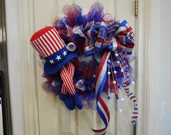 Patriotic Wreath, Fourth of July, Independence Day, Memorial Day, Veterans Day, Labor Day, July 4th Decor, Red, White and Blue, Front Door