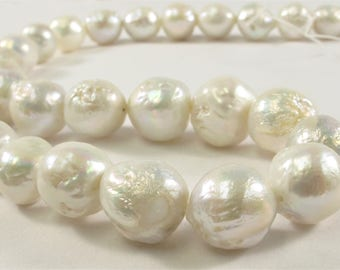 10-13 mm Natural White Baroque Freshwater Pearl Beads, Cultured Baroque Pearls, Natural Edison Flameball Freshwater Pearl Beads(470-BQW1013)