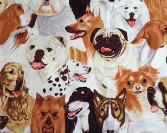 49 inches of stacked dogs  cotton fabric
