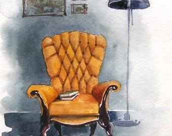 Original painting, watercolor painting, English chair, old comfy chair, painting easy chair, painting interior, gift, wall art