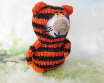 Tiger  Cat Hand-Knit Amigurumi toy miniature Tiger kitty Black Red cat Soft toy Present gift idea unique toys