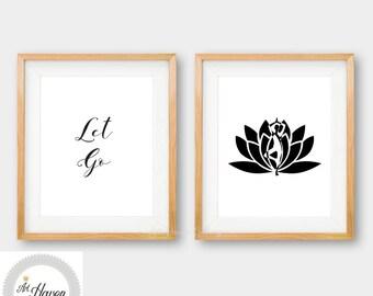 Yoga Wall Art, Meditation Print, Black and White PRINTABLE, Let Go Quote, Minimalist Print, Yoga Poster, Meditation Poster, Yoga Gift, 8x10