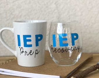 Teacher Mug and Wine Glass, IEP, special education, teacher gift