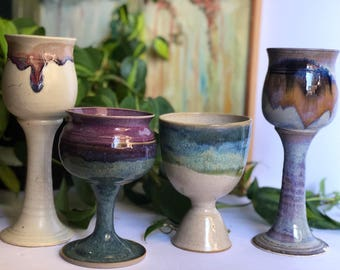 Mixed Ceramic Dripware Goblets, Wineglasses, Instant Collection