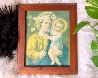 Saint Joseph and Jesus Portrait, Vintage Print