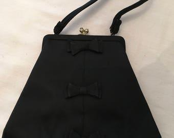 Lederer de Paris Black Satin Evening Bag