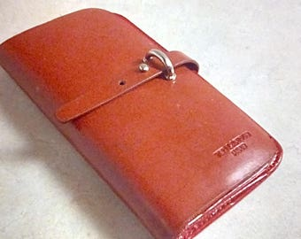 Vintage 1960's Ted Lapidus Paris Rare Red Hand Book Wallet Red Leather Retro