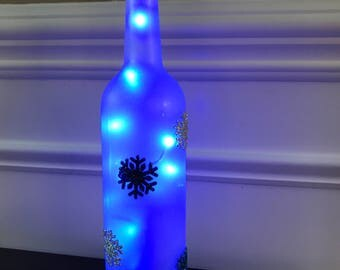 Snowflake Wine Bottle Lamp