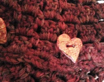 Handmade Crochet Cowl / Cowl with Buttons / Handmade Buttons / Paper Mache Buttons / Scaldacollo uncinetto con bottoni /Bottoni fatti a mano