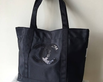 chanel tote. new chanel vip black nylon tote with cc sequin logo