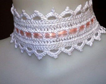 Wedding crochet choker, white and pink