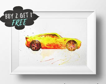 Cars 3 Wall Art Poster Print, Cruz Ramirez New Cars Nursery Decor Printable Watercolor Instant Download, New Cars 3 Artwork