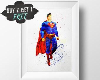Comics Art Print Poster, Superman Wall Art Nursery Decor Printable Watercolor Instant Download, Superman Comics Birthday Party Favors Decor