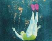 Original Art - Mini Swimmer no.9 - Painting in gouache, watercolour, gold leaf. Open water swimmer, diver. Artwork by Nancy Farmer