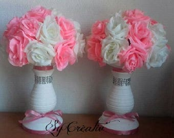 2 decorations of TABLE louse wedding or House - pink artificial flowers