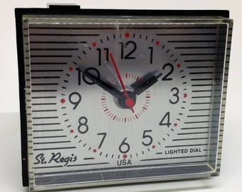 Retro St. Regis Alarm Clock Mid Century Small Tabletop Nightstand Red Black Silver Lighted Dial Made USA American Timepiece Time Minimalist