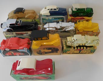 Avon Products Collectors Set (10)-Vintage cars/auto decanters 1920-39, Glass Cologne Bottles