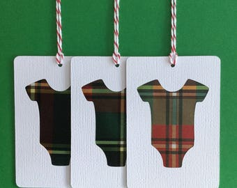 Newborn Bodysuit Gift Tags, Birthday Gift Tags, Tartan Gift Tags, Baby Shower Gift Tags, Newborn Gift Tags, Scottish Gift Tags