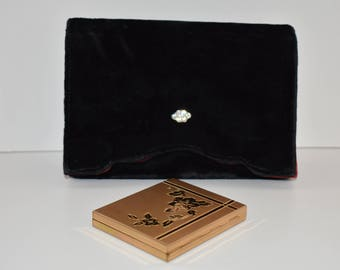 Velvet Clutch Purse Handbag with Gold Tone Compact and Lined in Red Satin Vintage