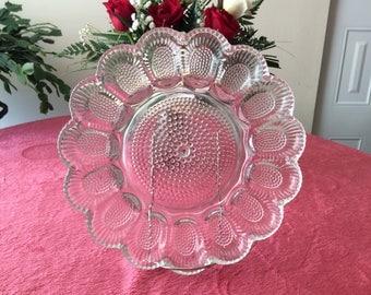 Vintage Indiana Glass Deviled Egg Plate   #305