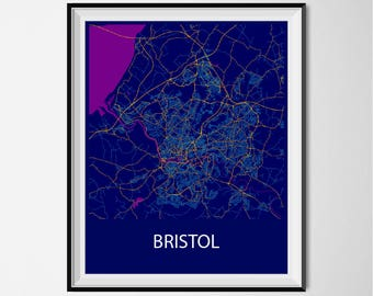 Bristol Map Poster Print - Night