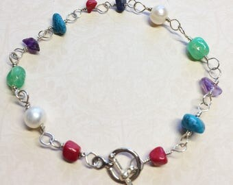 Sundance style-Multi Gemstone-wire wrapped silver bracelet-Turquoise-Chrysoprase-summer beach jewelry-gemstone bracelet-amethyst-toggle